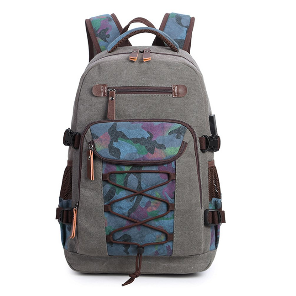 Canvas Laptop Backpack Travel Hiking Daypack with USB Charging Port For Mens Grey
