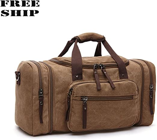 Men Travel Duffel Bag Leather Luggage Bag Handbag Shoulder Bags Crossbody Bag Traveling Briefcase Sports Gym,Travel Bag for Men or Women Color : Brown