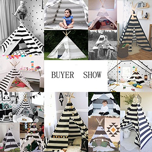 White and grey color New design children game room play tent indian Teepee with mat by FREE LOVE (Image #3)