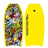Osprey Body Board with Leash Slick Crescent Tail XPE Boogie Board, Sticker Design, Yellow, 33 Inch