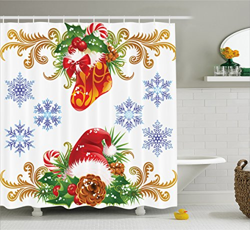 Christmas Winter Shower Curtain with Hooks by Ambesonne, Ornaments Christmas Retro Decorative with Stocking and Santa Hat Mistletoe Snowflakes Classic Theme, Fabric Bathroom Set with Hooks, (Winter Hat Stocking)