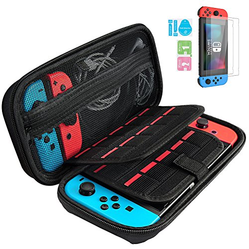 Nintendo Switch Carry Case + 2PCS Tempered Glass Screen Protector, GIM Portable Protective Hard Shell Cover Travel Storage Bag with 20 Game Cartridge for Nintendo Switch Console & Accessories from GIM