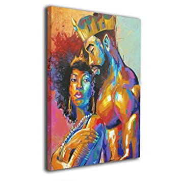 Bold And Brash King African American Lovers Couple Canvas Prints Wall Art Wooden Frame Abstract Paintings Stretched And Framed Ready To Hang 16x20