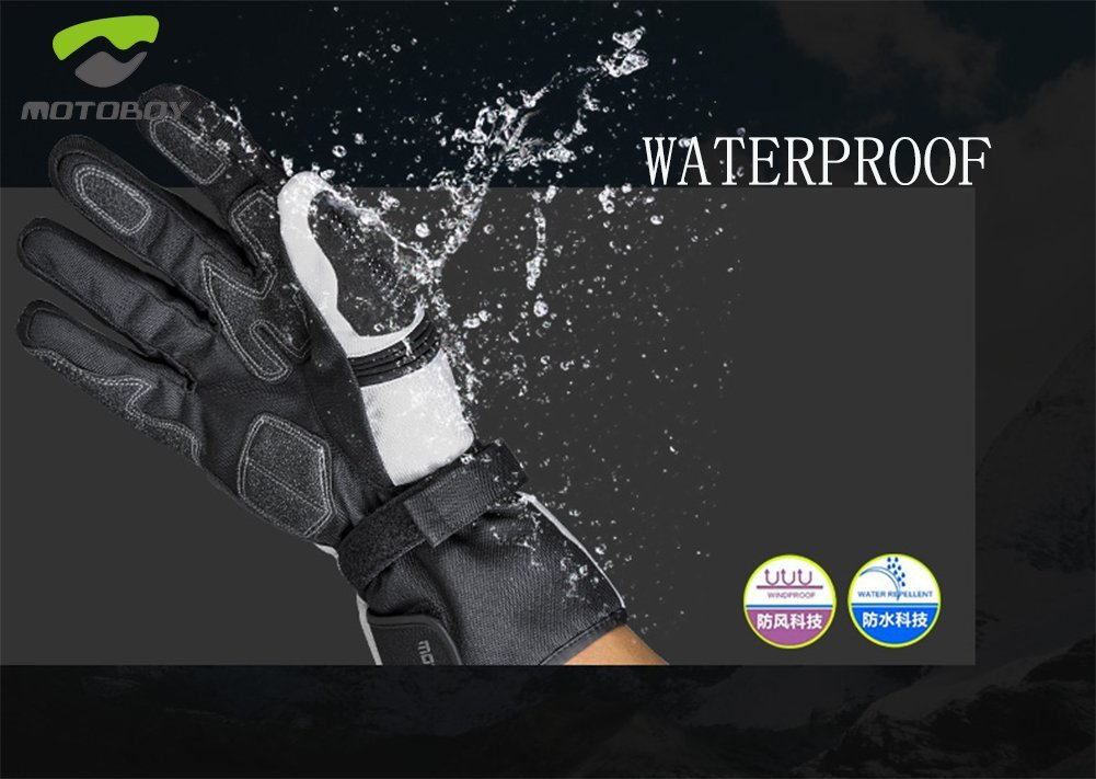 Winter and Spring Waterproof Windproof Anti-impact Anti-sliding Gloves,Breathable Padded Warm Reflective Motorcycle Gloves from MOTO-BOY L, Black