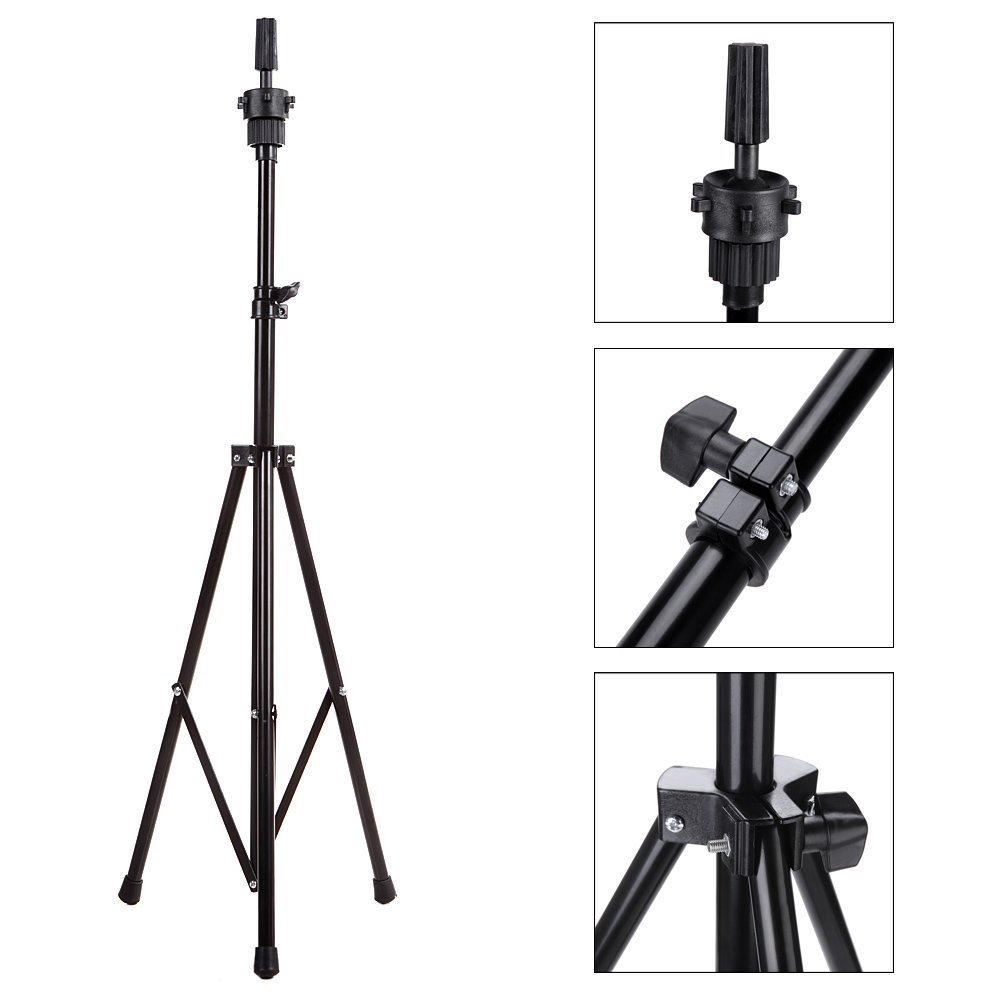 Borogo Wig Mannequin Head Tripod Stand with Carry Bag Hairdressing Training Head Holder for Cosmetology