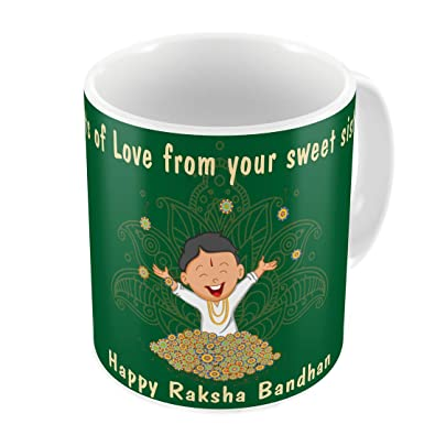 Indi ts Brother Wishes From Sister Quote Printed Gift Set Mug 330 Ml Crystal Rakhi Roli Chawal & Greeting Card For Boys Men