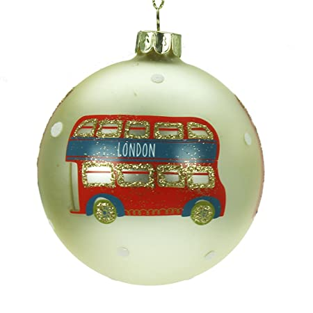 48603decc601 Image Unavailable. Image not available for. Colour: Gold Glass Christmas  Tree Decoration with Red London ...