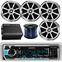 Kenwood Marine Boat Yacht Radio Stereo Receiver Bundle Package with 4x Jensen 6.5 2-Way Coaxial Speakers, Enrock 400-Watt 4-Channel Bluetooth Car/Marine Amplifier, 50ft 16g Speaker Wire