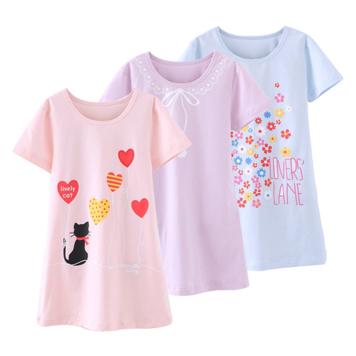 Amazon.com: KINYBABY Girls Sleepwear Cute Cotton Nightgown Pajamas Nightwear Sleep Dress: Clothing