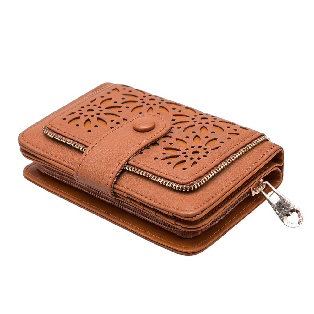 GLITZALL Faux Leather Vintage Hollow Bifold Wallet Women Short Credit Card Holder (Brown)