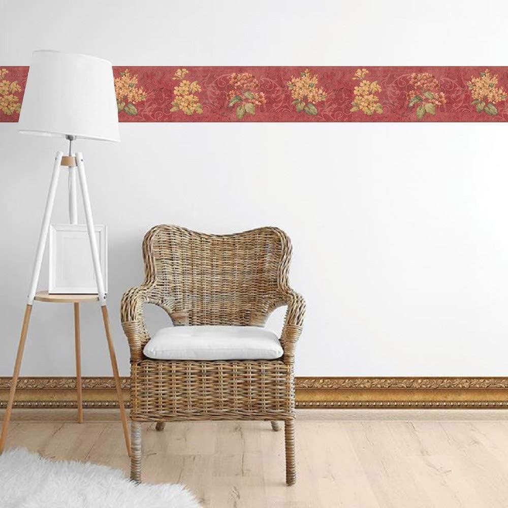 Dundee Deco BD6075 Frise de Papier Peint Bordure de papier peint pr/écoll/é Motif floral /écarlate jaune fleurs de prairie vertes 4,57 m x 17,78 cm Frise Murale