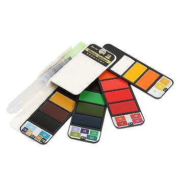 SUPVOX Kit de acuarelas Set artista plegable 18 colores Acuarelas ...