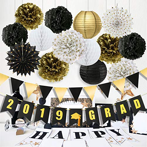 2019 Graduation Party Decorations Class of 2019 Graduation Banner Tissue Paper Flowers Pom Poms Paper Lanterns Hanging Paper Fans for College Grad Party and High School Graduation Party Supplies 2019]()