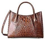 PIFUREN Women Top Handle Satchel Handbags Crocodile Leather Tote Bag C69678 ( Brown)