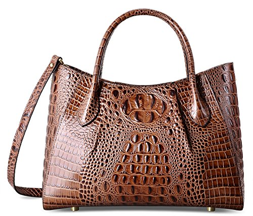 PIFUREN Women Top Handle Satchel Handbags Crocodile Leather Tote Bag C69678 ( Brown) by PIFUREN