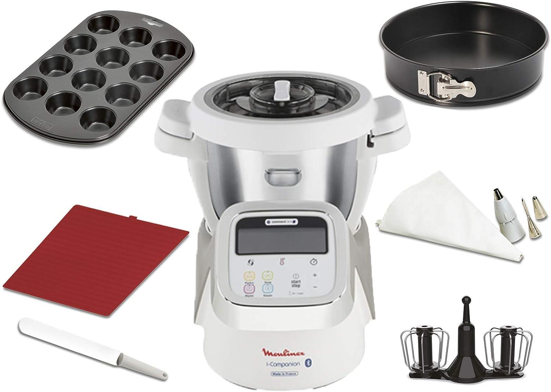 Moulinex i-Companion HF900110 - Robot de cocina Bluetooth 13 programas hasta 6 personas, incluye cuchilla picadora, batidor, amasador y cesta de vapor, con cortador + vaporera + kit de repostería: Amazon.es: Hogar