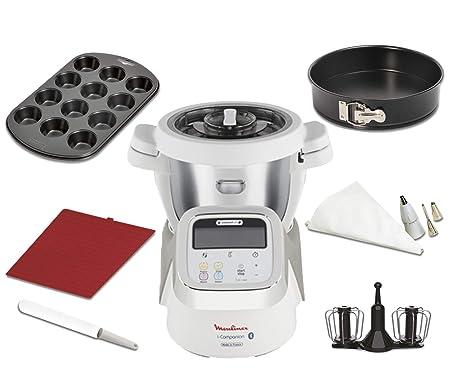 Moulinex i-Companion HF900110 - Robot de cocina Bluetooth 13 programas hasta 6 personas, incluye cuchilla picadora, batidor, amasador y cesta de ...