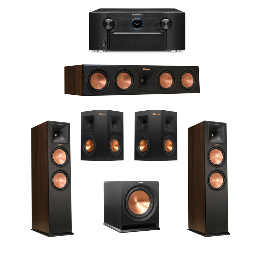 Klipsch 5.1 Walnut System with 2 RP-280F Tower Speakers, 1 RP-450C Center Speaker, 2 Klipsch RP-240S Ebony Surround Speakers, 1 Klipsch R-112SW Subwoofer, 1 Marantz SR7011 A/V Receiver by Klipsch