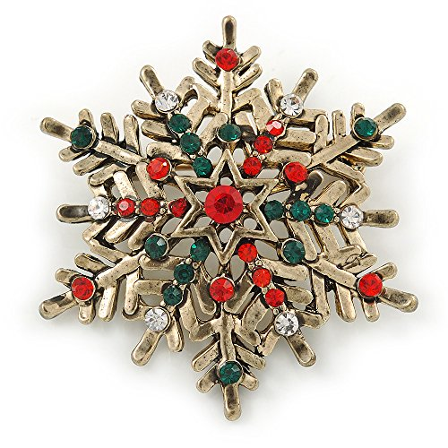Vintage Inspired Red/ Green/ Clear Crystal Christmas Snowflake Brooch In Antique Gold Tone Metal - 40mm ()