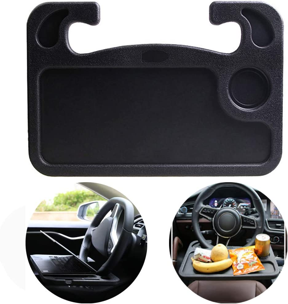 DAIFUQIHUA Steering Wheel Tray Portable Multifunctional Desk for Laptop Eating Travelling Car Trays for eating Car desk for laptop Steering Wheel desk for food Suits Most Cars (Black)
