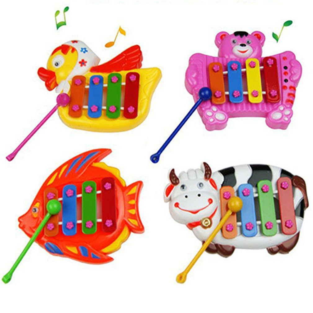 ZHOUBA Musical Educational Animal Developmental Music Bell Toy 4 Tones for Kids Baby (Random Color)