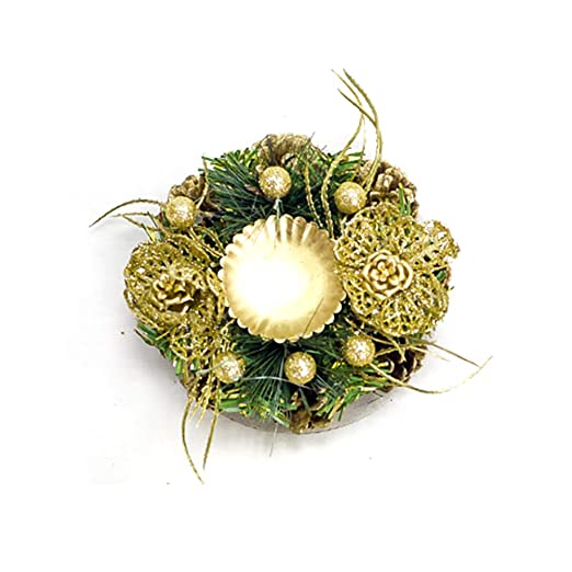 Snner Vela De La Navidad De Oro Portapilares Candelabro con Piñas ...