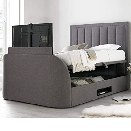 Groovy Tv Ottoman Bed Happy Beds Ventura Grey Storage Fabric Modern Bed 5Ft Uk King 150 X 200 Cm Frame Only Creativecarmelina Interior Chair Design Creativecarmelinacom