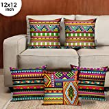 TIED RIBBONS Set of 5 Decorative Cushion Covers 12 Inch X 12 Inch for Wooden Sofa, Bedroom Decoration (Multicolor) - Valentine for Husband Boyfriend Girlfriend Wife