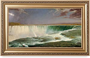 DECORARTS - Niagara Falls by Frederic Edwin Church, Giclee Print on Canvas. Ready to Hang Framed Wall Art for Home and Office Decor. Total Size w/Frame: 36x22