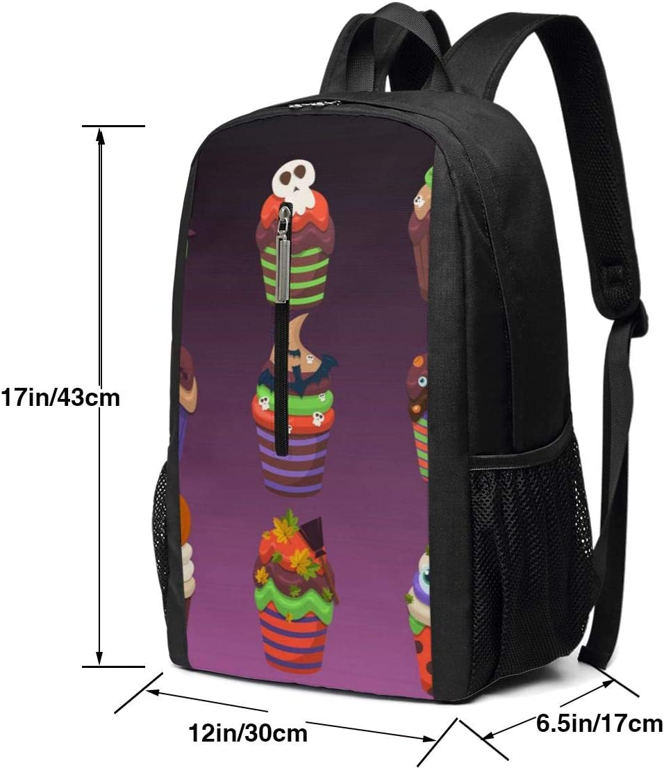 Cupcake Scary Sweets Work Backpack Shoulder Back Pack Bag for Womens Mens Youth 17