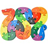 Gecter Alphabet Jigsaw Puzzle Building Blocks Animal Wooden Puzzle , Wooden Snake Letters Numbers Block Toys for Children's Toys - Snake B
