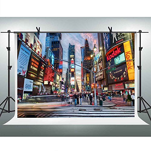 (FHZON 10x7ft New York Times Square Photography Backdrop Prosperous City Posters Screen Travel Background Theme Party YouTube Backdrops Photo Booth Studio Props LXFH161)