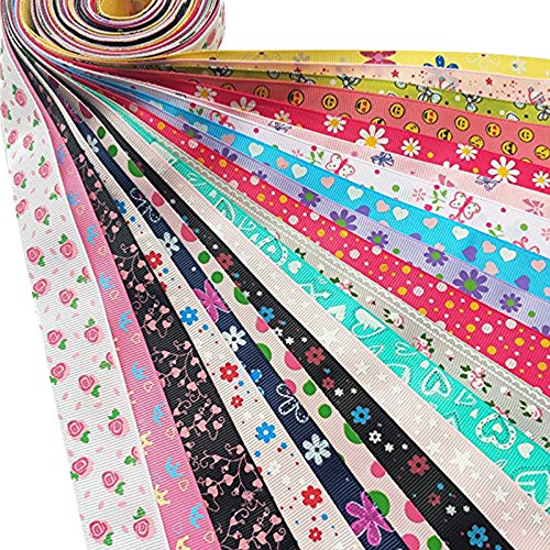 Dandan DIY Assorted 20 Yards Grosgrain Ribbon Bow Daisy Butterfly Cake Love Heart Dots Flower Rose Smile Face Craft DIY Gift Packing hair bow (Butterfly Grosgrain Ribbon)