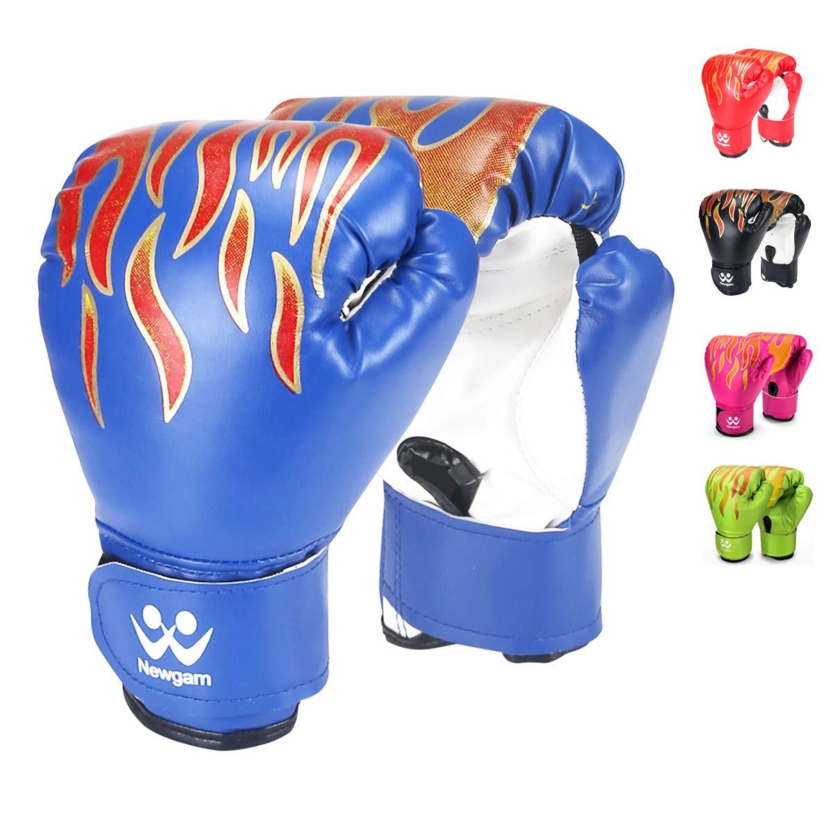 Newgam キッズ ボクシンググローブ 子供用 ジュニア スパーリング キックボクシング トレーニンググローブ PUレザー 5オンス 3~8歳用 B07MH4C16P ブルー