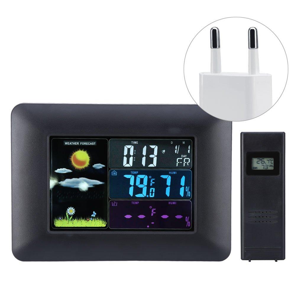 fosa Station météo sans fil numérique avec écran LCD coloré, capteur extérieur, baromètre pour les prévisions météorologiques, mesure de l'humidité de la température, horloge réveil (Noir)