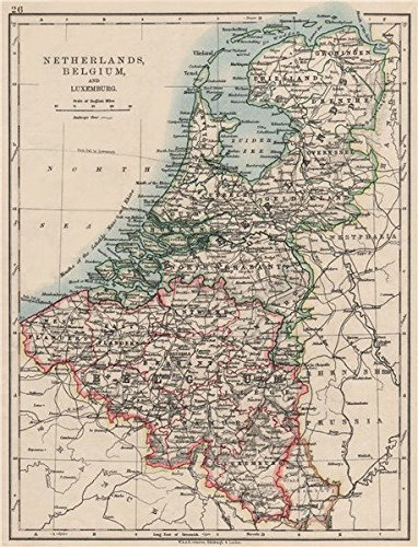 netherlands belgium luxemburg holland johnston 1900 old map antique