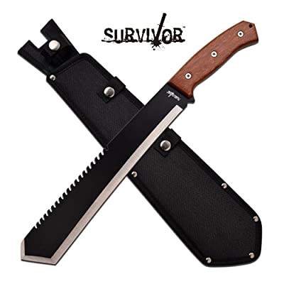 "Survival Machete with Carbon Sharp Blade Durable Bolo Tanto Black Sawback Brush Blade Wood Handle 20"" + Sheath : Garden & Outdoor"