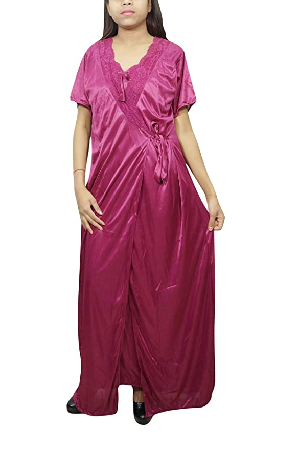 5e4a1a4c5f Indiatrendzs Women 2pc Set Nighty Satin Pink Solid Sleepwear with Robe   Amazon.in  Clothing   Accessories