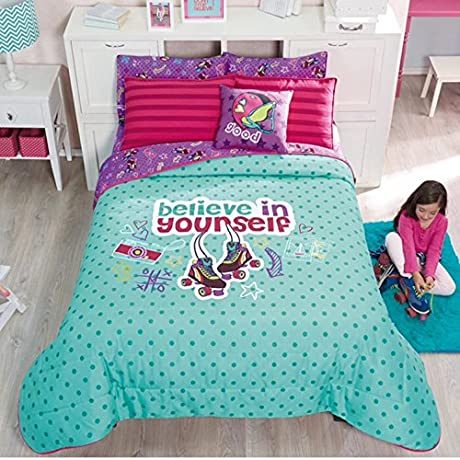 BEST SELLER ROLLER SKATES PATINES DOUBLE SIDED COMFORTER SET SHEET SET AND WINDOW PANELS 8 PCS TWIN SIZE