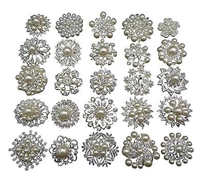 Zaki 12p Silver Wedding Bridal Crystal Faux Pearl Brooches Rhinestone Flower Corsage Bouquet Decor