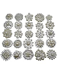 L'vow Silver Crystal Pearl Brooches Brooch Pins Bouquet Kit Pack of 12