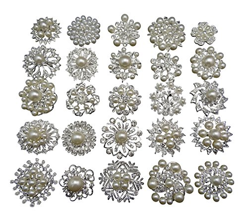 L'vow Silver Crystal Pearl Brooches Brooch Pins Bouquet Kit Pack of ()