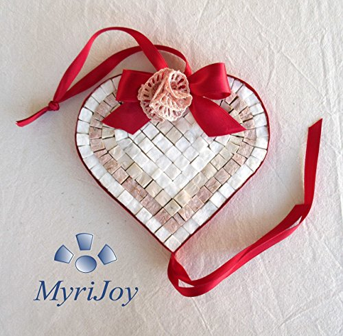 "Mosaic kit DIY: Red Heart 6""x6"" - Arts and crafts for adults - Home decor accent - Mosaic supplies - Italian marble mosaic tiles - Mosaic making kit for beginners - Original gift ideas from MyriJoy"