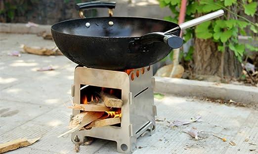 304 Acero inoxidable madera estufa Alcohol estufa al aire libre barbacoa camping cocina: Amazon.es: Jardín