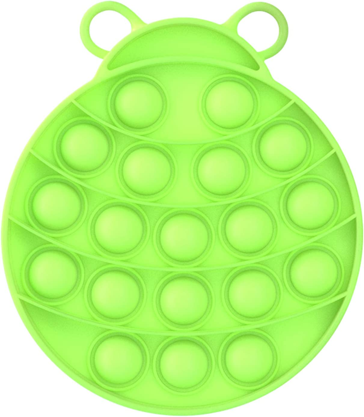 XMY Pop Bubble Sensory Fidget Toy [Food Grade Silicone] Pop Game Educational STEM Playing Board Stress Reliever Squeeze Sensory Fidget Toy for Kids Adults.(Ladybug Style-Green)