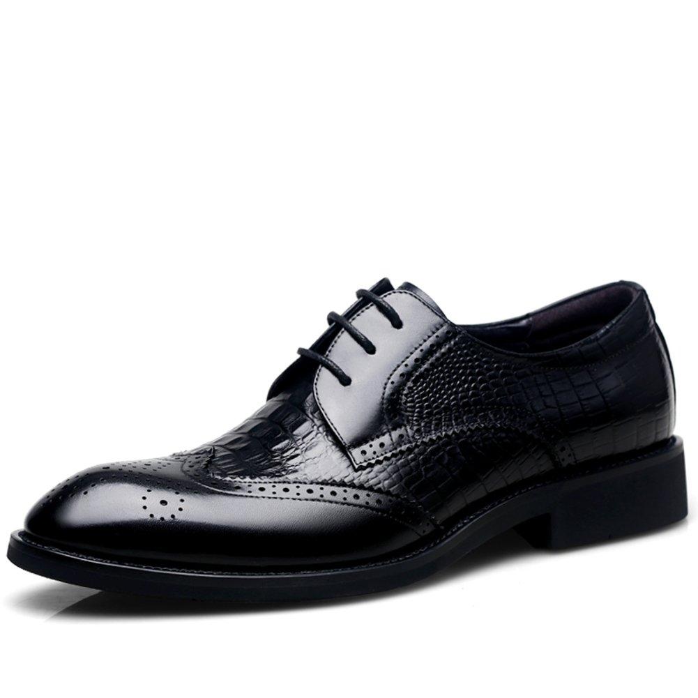 Zapatos Casuales De Cuero De Los Hombres Dress Otoño Pies Grandes La Boda Moda Resbalón Encendido Negro-marrón Longitud del pie=26.8CM(10.6Inch)|negro
