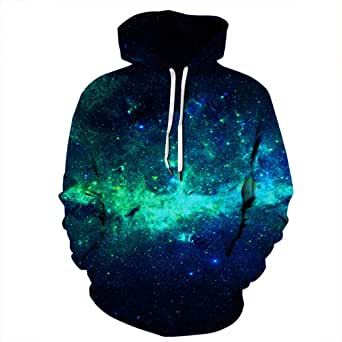 YDYG Unisex 3D Prints Pullover Jumpers Long Sleeve Galaxy Printed Sweatshirts Casual Hoodies with Pocket and Drawstring for Youth&Teens