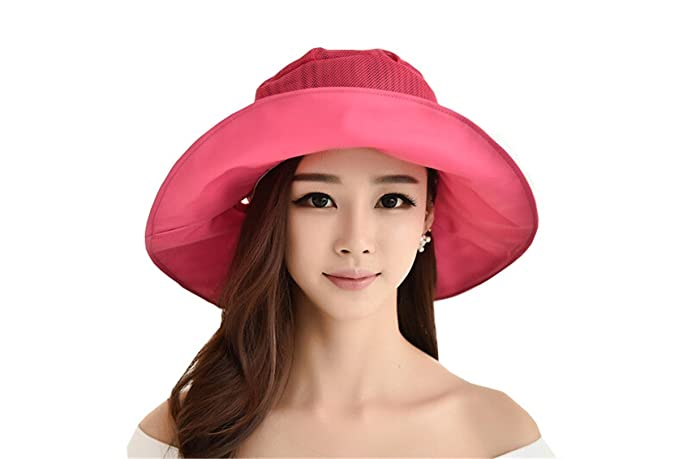 178eb834a9648 Elufly Women UV Protection Outdoor Mesh Sun Hat Face Neck Cover Mask Travel  Foldable Beach Cap