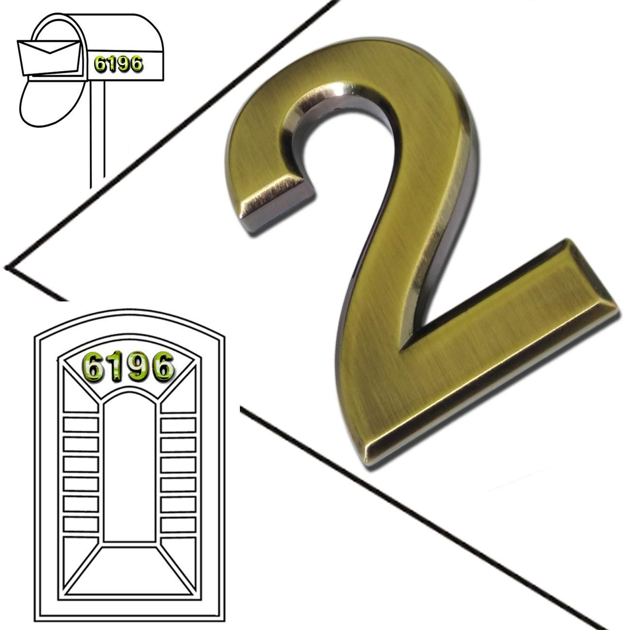 Two Pieces of Number 9 by Magicdo 2-3//4 x 1//4 Self-Stick Solid Brass Mailbox Numbers