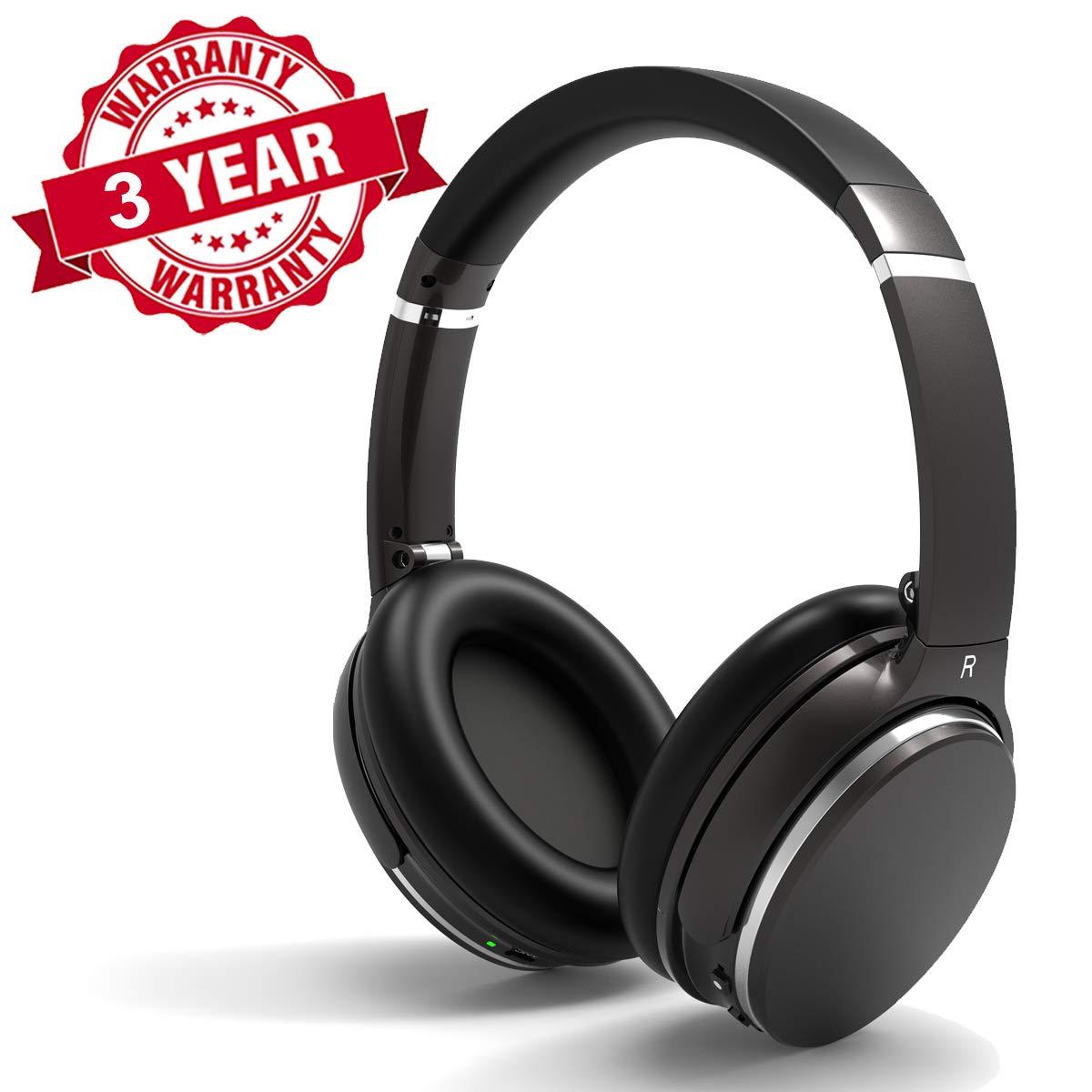 Woozik Bluetooth アクティブノイズキャンセリングヘッドホン マイク付きワイヤレスオーバーイヤーヘッドセット 18時間のバッテリー寿命 強力な低音 仕事/旅行用のステレオサウンド 3.5mm (ANC200) B07QS5GQGZ